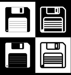 Floppy disk sign black and white icons vector