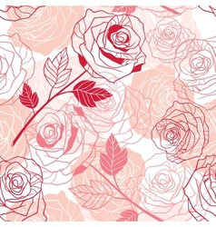 Floral background with roses seamless pattern vector image