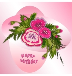 Floral composition bouquet of pink flowers on vector