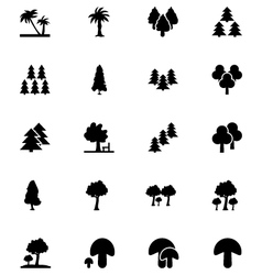 Forest solid icons 4 vector