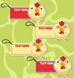 Four cute cartoon Chickens stickers vector image