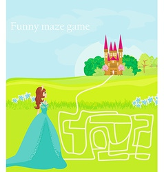 Funny maze game the beauty princess find the way vector