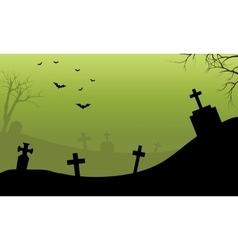 Halloween tomb and bat scary with fog vector