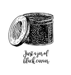 Hand drawn jar with black caviar vector