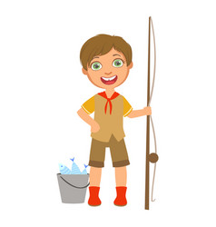 Happy boy scout with a fishing rod and bucket a vector