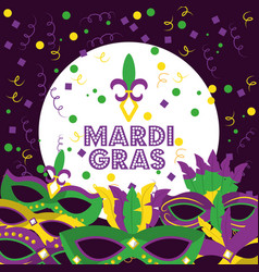 Mardi gras poster and flyer with carnival masks vector