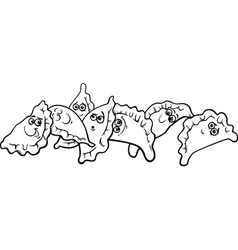 pierogi or dumplings coloring page vector image vector image