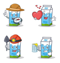 Set of milk box character with explorer heart vector
