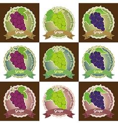 Set of various grape fruit label tag badge sticker vector
