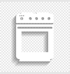 Stove sign white icon with soft shadow on vector