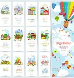 Sweet set banners of cute cityscape urban vector