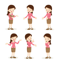 teacher woman various actions vector image vector image