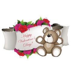 teddy bear and flowers vector image