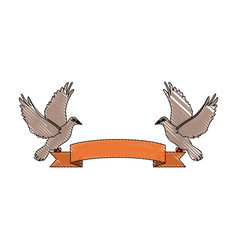 two doves holding a banner ribbons clip art vector image