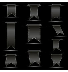 Black hanging curved ribbon banners set eps10 vector