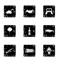 Tourism in russia icons set grunge style vector