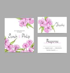 Floral wedding invitation card vector