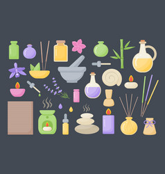 spa and aromatherapy flat icons set vector image