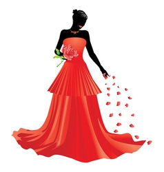 Silhouette of girl with rose vector