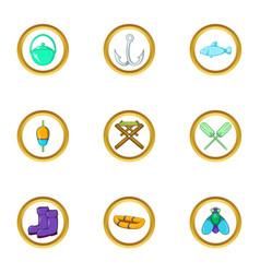 fishing icon set cartoon style vector image