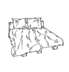 Bed sketch vector