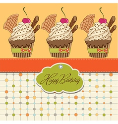 Birthday cupcake vector
