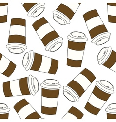 Seamless coffee cup pattern vector