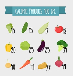 Calories in foods variety of vegetables from vector