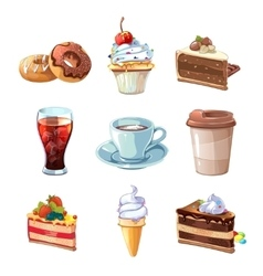 Street cafe products cartoon set chocolate vector