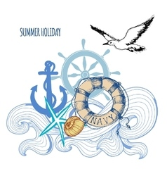Sailing background summer sea holiday design vector image