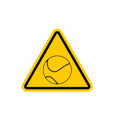 Attention tennis danger yellow road sign games vector