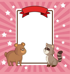 Beauty bear and raccoon card decoration vector