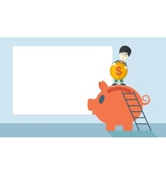 Big piggy bank with ladder vector image