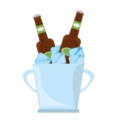 Bucket two beers cool ice design vector