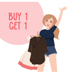Buy one get 1 free discount promo girl happy vector