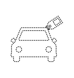 car sign with tag black dashed icon on vector image