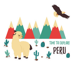 Concept poster explore peru with cute lama vector