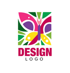 creative label design with abstract butterfly and vector image vector image