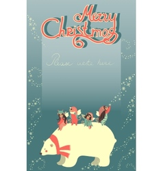 Cute angels and polar bear celebrating christmas vector