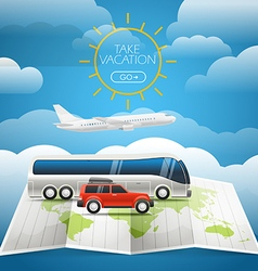 Different vehicle tour concept summer holidays vector