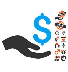 donation icon with love bonus vector image vector image