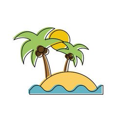 island with palm tree and sea icon image vector image