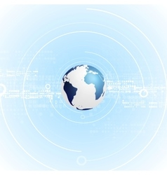 Light blue tech background with globe vector image