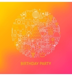 Line birthday icons circle concept vector