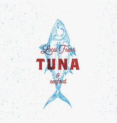 Local fresh tuna and seafood abstract sign vector