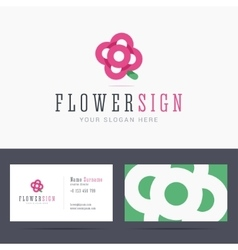 Logo and business card template with abstract vector image vector image