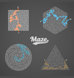 Maze labyrinth greek puzzle challenge set vector