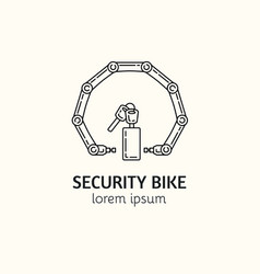Modern linear style bicycle security logotype vector