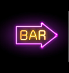 neon glowing arrow pointer set on dark background vector image