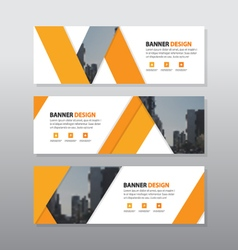 Orange triangle abstract corporate business banner vector